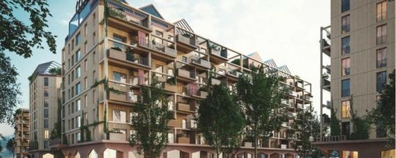 Holz-Hybrid-Wohnbau mit Erdäpfel-Dach
